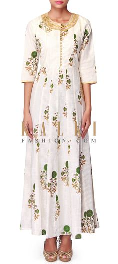 White long printed kurti with embroidered neckline only on Kalki