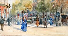 Anna Palm de Rosa (Swedish painter) 1859 - 1924 Boulevard Des Capucines, 1905 watercolour and opaque white 26 x 47.5 cm.