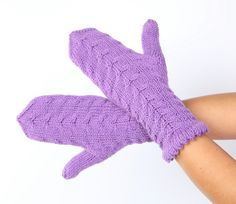 Purple mittens Purple gloves Warm purple knitted by MioLauma, $32.00