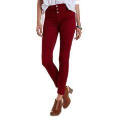 "Charlotte Russe Wine Refuge ""Hi-Waist Super Skinny"" Colored Jeans by... (44 CAD) ❤ liked on Polyvore featuring jeans, wine, high waisted denim skinny jeans, stretchy skinny jeans, high-waisted skinny jeans, high rise jeans and denim skinny jeans"