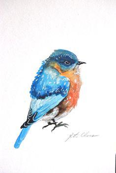 Watercolor Painting Orignal Painting Blue Bird 6x9 by WoodPigeon, $25.00