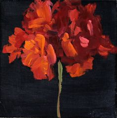 Red Flower on Black, Still Life Painting, Original Oil on Wood Panel, 8x8 inch, Fine Art