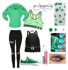 """""""Chilling with St Patrick's Day style"""" by megan-j-hill ❤ liked on Polyvore featuring Topshop, Converse, Casetify, Under Armour, OPI, Clinique, MICHAEL Michael Kors and Eshvi"""