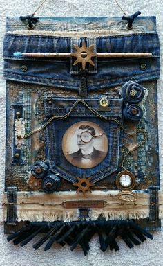 Mixed Media Canvas Steampunk Style With Recycled Denim @BeatrizSBarte