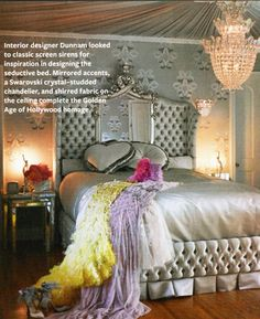 """Dita Von Teese, known as """"The Queen of Burlesque,"""" lives in glam retro style at home in L.A., her bedroom is homage to the Golden Age of Holleywood and the February issue of InStyle magazine has some seriously gorgeous photos of it. The house was built in the 1940s, and was decorated by designer Stacia Dunnam."""