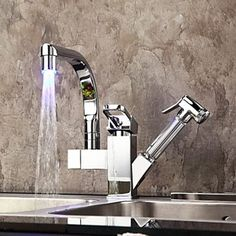 Chrome Finish Single Handle LED Kitchen Brass Faucet At FaucetsDeal.com