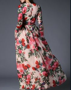 Long Sleeve Waist Tied Swing Floral Printed Maxi Dress
