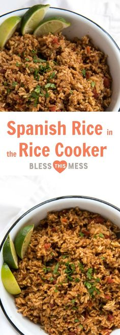 EasySpanishRice recipe made in the rice cooker with a few simple ingredients (including a can of tomatoes), just dump, mix, set it, and forget it! Mexican food is in my favorites category. I love everything from tostadas and steak carnitas to simple bean burritos and salsa. Easy Spanish rice is the perfect side for all