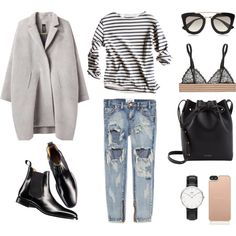 MINIMAL + CLASSIC: Boyfriend Jeans + Breton Stripes by fashionlandscape on Polyvore featuring Mode, Zero + Maria Cornejo, One Teaspoon, STELLA McCARTNEY, Charles Tyrwhitt, Mansur Gavriel, Daniel Wellington, Kate Spade and Prada