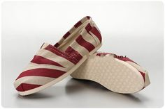 Red Stripe Linen Womens Womens Shoes $19.77