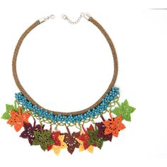 Necklace-Bohemian Crochet Maple Leaves Crystal Beaded Handmade Bib... ($99) ❤ liked on Polyvore featuring jewelry, necklaces, macrame necklace, statement necklaces, fringe necklaces, crochet necklace and crystal bead necklace
