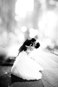 bride & groom on the street by Hannah Suh Photography