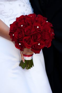 Red rose bridal bouquet, accented with rhinestones