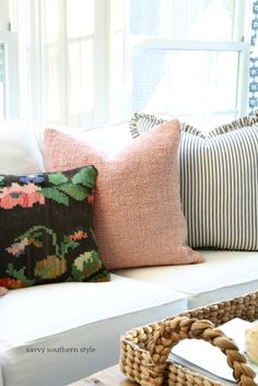 Savvy Southern Style: Just For Fun Let's Add Pink in the Sunroom Pink Pillows, Throw Pillows, New Shadow, Savvy Southern Style, Pattern Mixing, Just For Fun, Sunroom, Living Room Designs, Fall Decor
