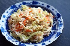 A perfect side salad for Asian inspired dishes! Thinly sliced cabbage with carrots, toasted peanuts, in a creamy peanut-y rice vinegar dressing. Asian Coleslaw, Coleslaw Salad, Asian Slaw, Coleslaw Dressing, Dessert Simple, Simply Recipes, Great Recipes, Favorite Recipes, Recipe Ideas