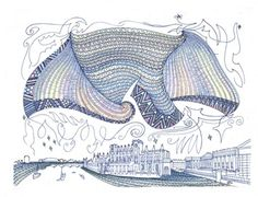 Full: Front Drawing of a Maori cloak flying over the Museum of Mankind, the British Museum and the River Thames, there are several boats in the river. Te Hono ki Ranana, The Connection with London, Pigment ink © The Trustees of the British Museum New Zealand Tattoo, Maori Designs, Maori Art, Pattern Art, Art Patterns, Diy Arts And Crafts, Pigment Ink, Eclectic Decor, British Museum