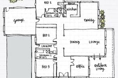 What answers the question: Where are the rooms?: Hand drawn floor plan of a house Drawing House Plans, Simple Floor Plans, Feng Shui House, Bed Plans, Kirchen, Simple House, Building A House, How To Draw Hands, Design Inspiration