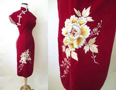 Exotic 1950's Red Velvet Asian Suzy Wong Party Cocktail Dress Embroidered Flowers Rockabilly VLV Curve Hugging Vixen Size-Medium by wearitagain on Etsy https://www.etsy.com/listing/235951857/exotic-1950s-red-velvet-asian-suzy-wong