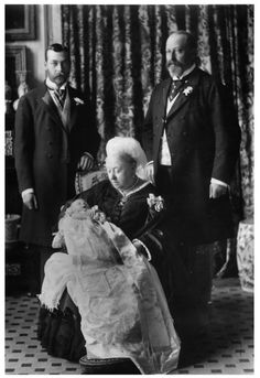 londonconnection:  Four Generations-the then current monarch and three future monarchs-1894:  Queen Victoria holding her great-grandson Prince Edward (later Edward VIII) with her grandson Prince George (later George V) and her son Prince Albert Edward (later Edward VII).