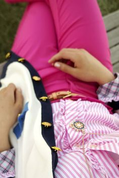 Bright pink pants, light pink striped oxford