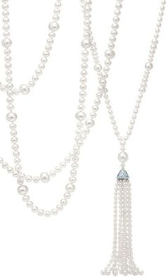 TASSEL PENDANT OF PEARLS Tiffany interprets Jazz Age fashion with an elegant sweep of pearls accented by diamonds. From The Great Gatsby Collection, inspired by Baz Luhrmann's film in collaboration with Catherine Martin.