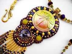 Bead Embroidery Necklace Purple Gold Bead by PreciousHeartBeads, $95.00