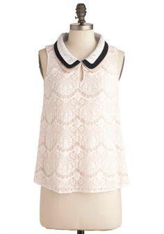 Lace Share Top | Mod Retro Vintage Short Sleeve Shirts | ModCloth.com
