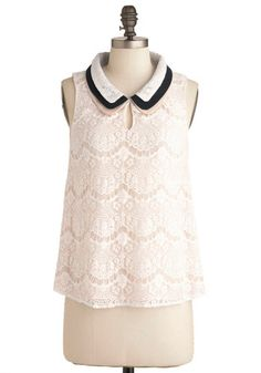 Lace Share Top - Mid-length, White, Blue, Pink, Solid, Lace, Peter Pan Collar, Sleeveless, Sheer, Collared, Work, Cocktail, Daytime Party