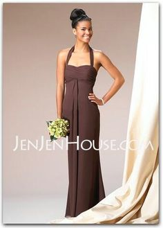 Bridesmaid Dresses - $104.99 - Sheath Halter Floor-Length Chiffon Bridesmaid Dresses With Ruffle (007001743) http://jenjenhouse.com/Sheath-Halter-Floor-length-Chiffon-Bridesmaid-Dresses-With-Ruffle-007001743-g1743