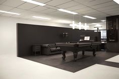 I've never seen a black pooltable - looks cool! | office 03 by i29 interior architects, via Behance