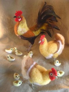 Needle felt chickens - hens, rooster and chicks
