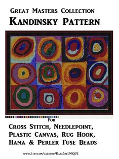 Great Master's: Kandinsky PATTERN, Cross Stitch, Needlepoint Epic Plastic Canvas Rug Hook Designs, Perler Patterns Hama Crafts, Download PDF by Dare2beUNIQUE on Etsy