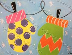 Cute colorful mittens acrylic painting on canvas