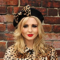 0b788004e6e9 Black Beret Hat with Leopard Fake Fur Bow £22.00 Wool Berets, Beautiful  Gifts,