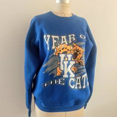 59e5d6dd Vintage 90s Sweatshirt, University of Kentucky, Wildcats, Year of the Cats,  Fruit of the Loom, Made in USA, Size XL Extra Large, Plus Size