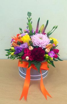 Same day flower delivery Wirral by The Little Flower Shop Florist Bromborough your local flower shop, send flowers, wedding flowers & funeral flowers. Hat Box Flowers, Flower Box Gift, How To Wrap Flowers, Flower Boxes, Church Flower Arrangements, Beautiful Flower Arrangements, Flower Centerpieces, Floral Arrangements, Beautiful Rose Flowers