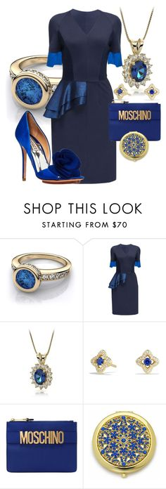 """""""sapphire outfit"""" by lulala002 ❤ liked on Polyvore featuring Lattori, David Yurman, Moschino, Frontgate, Badgley Mischka, contest, outfit and sapphire"""