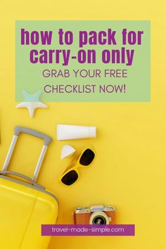 Save time and money by packing carry on only for your next vacation. Here's everything I bring when I travel, plus grab my free packing checklist. Travel Packing Checklist, Packing Tips, Air Travel Tips, Travel Advice, Checked Luggage, Best Luggage, Simple Blog, International Travel Tips, Packing Light