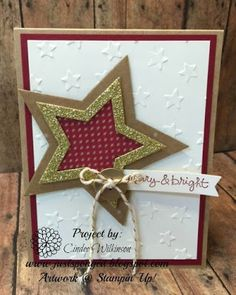 Just Sponge It, Stars Framelits, Lucky Stars Embossing Folder, Under the Tree dsp, Gold Glimmer Paper, Gold Baker's Twine, Gold Metal Buttons, Good Greetings stamp set, DIY, Stampin' Up!, Christmas Cards