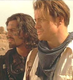 Oded Fehr (Rick O'Connell and Ardeth Bay from The Mummy - Brendan Fraser and Oded Fehr) Mummy Movie, Movie Tv, Brendan Fraser The Mummy, Image Film, Roman, Oded Fehr, Action Movies, Movies Showing, Gorgeous Men