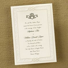 Eternity cream wedding invitations This ecru card invitation features an elegant pearl border with your wording printed. BS1278
