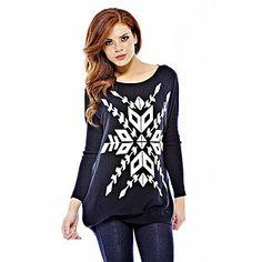 AX Paris- -Women's Knit Snowflake Black Sweater $25