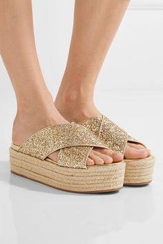 Miu Miu - Glittered Leather Espadrille Platform Sandals - Gold - IT36.5