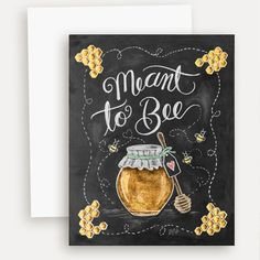 Meant to Bee - A2 Note Card #bee #engagement #Food