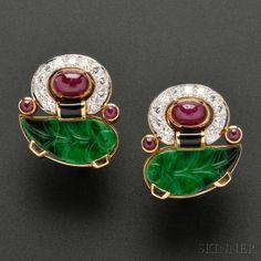 Diamond and Gem-set Earclips, David Webb | Sale Number 2693B, Lot Number 716 | Skinner Auctioneers