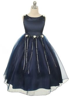 Gabriella Rosebud Organza Dress Navy #girlsdresses #bridal #ad #weddings #dresses #wedding
