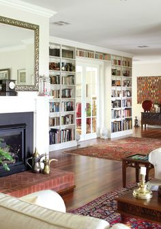 bookcases, doors, rugs