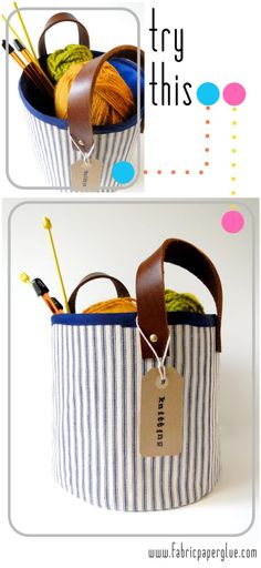 Fabric Paper Glue: Try This: Fabric + Leather Storage Baskets box with handle Fabric + Leather Project Baskets Fabric Storage, Diy Storage, Storage Baskets, Diy Organization, Gift Baskets, Fabric Bags, Paper Glue, Fabric Basket, Crafts