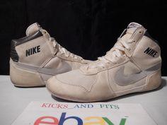 VTG OG 1987 1988 Nike Combatant Wrestling Shoes White Gray size 11 #Nike #AthleticSneakers