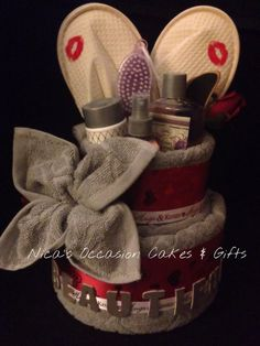 Valentine's Day Spa Towel Cake by NicasOccasionGifts on Etsy, $50.00